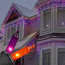 Hanging Icicle Lights On House Orange Purple Halloween Icicle Lights Black Wire Icicle