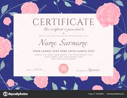 Certificate Completion Template Flowers Blue Roses Green Floral ...