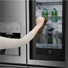 french door refrigerator with door lg signature series lupxs3186n knock on the instaview window to light up the interior without