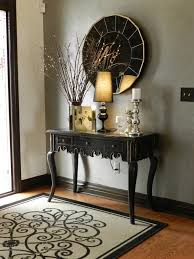 entry foyer table. Entryway Decor Ideas ~ Nice Entry Way/ Love The Rug ( A Plain Jute With Black Border And Then Painted Design? Two Tones On Walls, Interesting. Foyer Table I