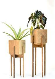 Modern Planter With Stand Elegant Mid Century  Plant Walnut Metal43