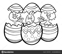 black and white cartoon ilration of easter bunny and little ens in colorful eggss of easter eggs coloring book vector by izakowski