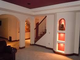 Basement Finishing Design Custom Interior Design Beautiful Finished Basement Ideas With Leather Sofa