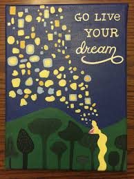 disney s tangled live your dream e acrylic painted 9x12 canvas