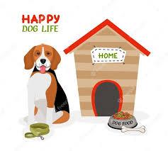 happy dog life vector poster design