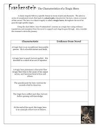Frankenstein Character Chart Frankenstein The Characteristics Of A Tragic Hero