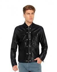 shirt style black leather jacket with shoulder epaulettes