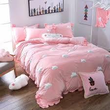 winlife home textiles embroidery cute 3d cloud ultra soft c velvet duvet cover set wrinkled bedding