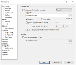 Log S Logging Page Preferences Dialog Winscp