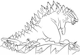 Godzilla Rijst Uit De Zee Kleurplaat Gratis Kleurplaten Printen
