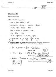 types of reactions worksheet unit v chem rxns ms beaucage template