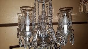 posts vintage schonbek crystal 6 arm chandelier