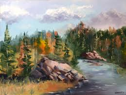 forest painting forest river landscape oil painting by artist mark webster by mark webster