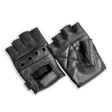 HANDS ON Black <b>Genuine</b> Grain <b>Leather Half Finger</b> Glove-FL2250 ...