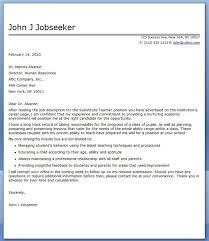 Cover Letter Substitute Teacher Substitute Teacher Cover Letter Examples Cover Letter For