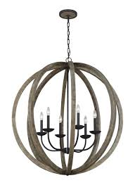 picture of 6 light pendant chandelier chandelier transitional weathered oak wood antique forged iron