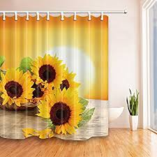 NYMB Sunflower With Green Leaves in the Sunset 69X70 inches Mildew  Resistant Polyester Fabric Shower Curtain