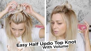 Top Knot Hair Style easy half updo top knot hair style with volume youtube 6352 by wearticles.com