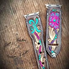tooled leather work jason becker custom leather apple watch band bands cowgirl