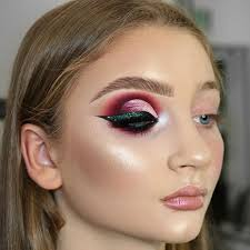 bold makeup look full face makeup application purple pink green white eyeshadows flawless glowing foundation and skin heavy glam makeup i