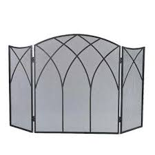 gothic black steel 3 panel fireplace screen