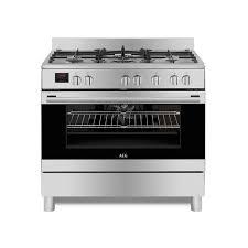 aeg 90cm silver gas electric stove