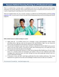 Reasons Behind Choosing Nursing As A Professional Career By