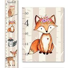 Woodland Growth Chart Fox Raccoon Owl Deer Growth Chart Floral Flowers Height Chart Canvas Girls Growth Chart