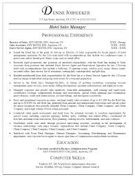 Resume Sample For Hotel Sales Manager     BNZY