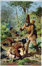 robinson crusoe crusoe standing over friday after he s him from the cannibals