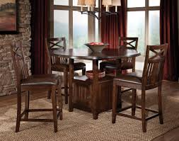 classy round dining table with storage and 4 rustic wooden kitchen counter height under pendant dining lamps as decorate country kitchen design
