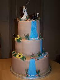 Rustic Fishingoutdoors Themed Wedding Cake Cakecentralcom