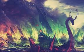fantasy art game of thrones blackwater fire boat colorful mountain landscape fall wallpaper and background