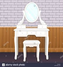 Elegant Lighting Mirrored Furniture Dressing Table With Mirror With Lights Female Boudoir For