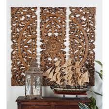 carved botanical medallion framed wooden wall art set of 3 14404 the home depot