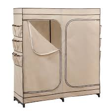 honey can do khaki brown trim plastic clothing rack with cover