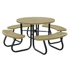 tan picnic table with built in umbrella support
