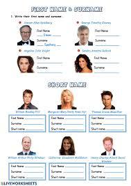 First name, surname & short name worksheet