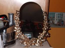 1918 vanity or dresser mirror with wood climbing rose vines original gold