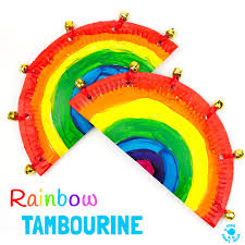 colourful rainbow paper plate tambourine craft
