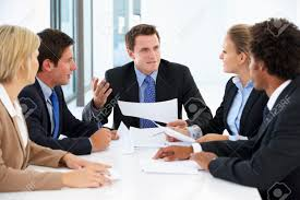 Group Of Business People Having Meeting In Office Stock Photo  42250012  123RF Photos