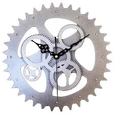 modern wall clock imitating metal gear
