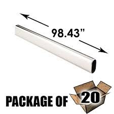 hardware resources 20 pack oval 98 43 long aluminum closet rod in satin