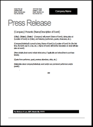 Press Release Templet Event Press Release Template