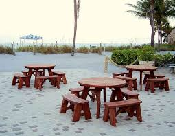 round wooden picnic tables detached benches by forever redwood