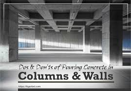 pouring concrete in columns and walls
