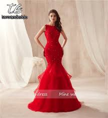 Long Designer Prom Dress With A Trumpet Skirt Us 89 7 35 Off Sleeveless Hot Red Mermaid Ruffled Skirt Tulle Prom Dress Lace Sexy Trumpet Long Party Formal Evening Dress Vestido Formatura In Prom
