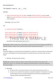 Music Contract Template Under Fontanacountryinn Com