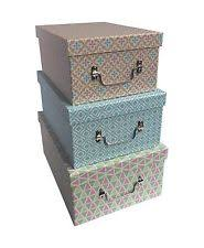 Decorative Cardboard Storage Boxes With Lids Cardboard JVL Home Storage Boxes with Handles eBay 19