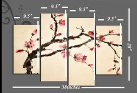 pink on cream oriental flower blossom on tree branch canvas wall art 4 panel 40 inch 101cm on asian wall art uk with pink on cream oriental flower blossom on tree branch canvas wall art